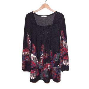 Anthro Hazel Gray Butterfly Sweater Shift Dress